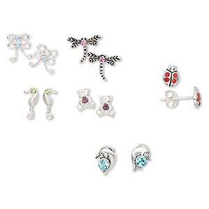 earring, sterling silver and swarovski crystals, assorted colors, 6x4mm-11x9mm assorted shape. sold per pkg of 6 pairs.