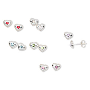earring, sterling silver and swarovski crystals, crystal ab, rose, aquamarine, peridot, light siam and violet, 6x5mm heart studs with earnuts. sold per pkg of 6 pairs.