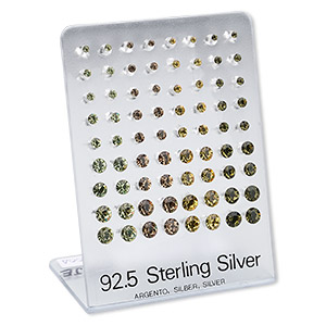 earring, swarovski crystals and sterling silver, assorted colors, 2.5-6mm faceted round. sold per pkg of 36 pairs.