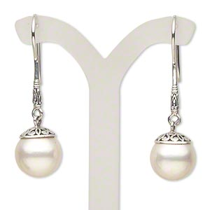 earrings, antiqued sterling silver and glass pearl, 1-5/8 inches with 12.5mm round and fishhook earwire. sold per pair.