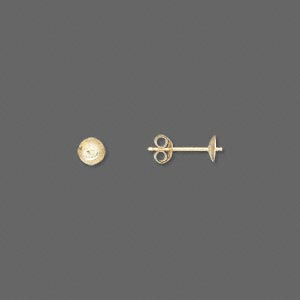 earstud, 14kt gold, 4mm cup with peg, fits 4-6mm half-drilled bead. sold per pair.