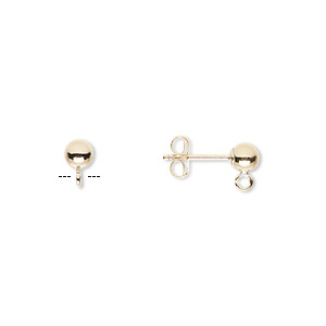 earstud, 14kt gold-filled, 4mm ball with open loop. sold per pkg of 5 pairs.