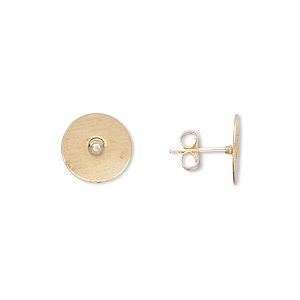 earstud, 14kt gold-filled post with 10mm gold-plated brass flat pad, 14kt gold-filled earnuts included. sold per pkg of 5 pairs.