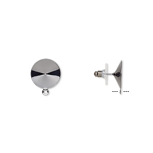 earstud, almost instant jewelry, plastic with gunmetal-finished brass and steel, 16.5mm round with closed loop and 16mm rivoli setting. sold per pkg of 5 pairs.