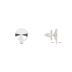 earstud, almost instant jewelry, plastic with silver-finished brass and steel, 14.5mm round with closed loop and 14mm rivoli setting. sold per pkg of 5 pairs.