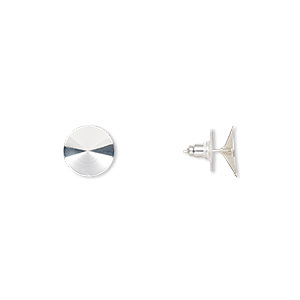 earstud, almost instant jewelry, plastic with silver-finished brass and steel, 14.5mm round with 14mm rivoli setting. sold per pkg of 5 pairs.