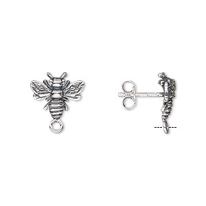 1ef19bb71 Earstud, antiqued sterling silver, 11.5x10mm bee with closed loop. Sold per  pair.