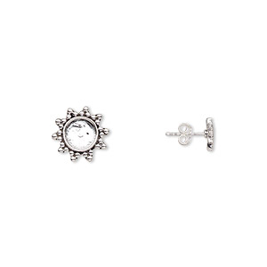 earstud, antiqued sterling silver, 9x9mm flower with 5mm round setting. sold per pair.