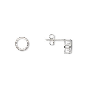earstud, bezelite, sterling silver, 6mm 4-prong round setting. sold per pair.