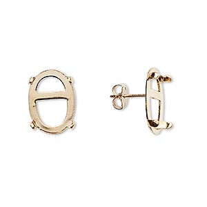 earstud, cab-tite™, 14kt gold-filled, 14x10mm 4-prong oval setting. sold per pair.