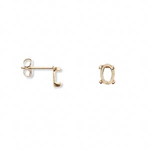earstud, cab-tite™, 14kt gold-filled, 6x4mm 4-prong oval setting sold per pair.