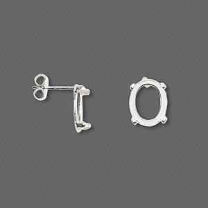 earstud, cab-tite™, sterling silver, 10x8mm 4-prong oval setting sold per pair.