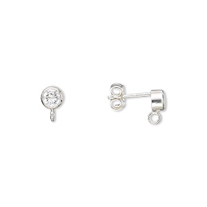 earstud, cubic zirconia and sterling silver, clear, 4mm round with open loop. sold per pair.