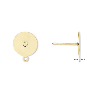 earstud, gold-plated stainless steel, 10mm flat pad with closed loop. sold per pkg of 50 pairs.