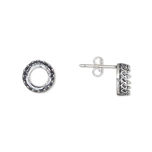 earstud, jbb findings, sterling silver, 9mm round with ss39 rivoli bezel setting. sold per pair.