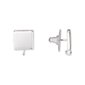 earstud, silver-plated steel and stainless steel, 10x10mm square with closed loop. sold per pkg of 2 pairs.