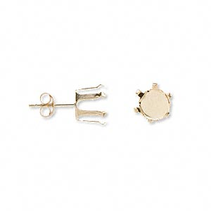 earstud, snap-tite, 14kt gold, 7mm 6-prong round setting sold per pair.
