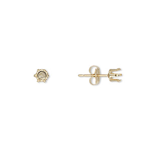 earstud, snap-tite, 14kt gold-filled, 4mm 6-prong round setting. sold per pair.