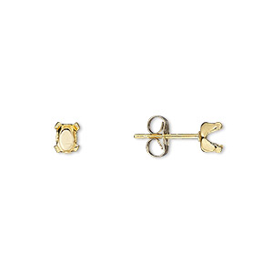 earstud, snap-tite, 14kt gold-filled, 5x3mm 4-prong oval setting sold per pair.