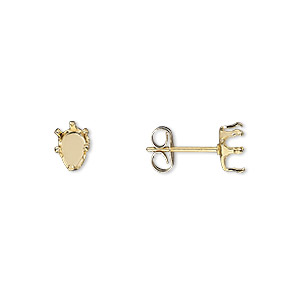 earstud, snap-tite, 14kt gold-filled, 6x4mm 6-prong pear setting. sold per pair.