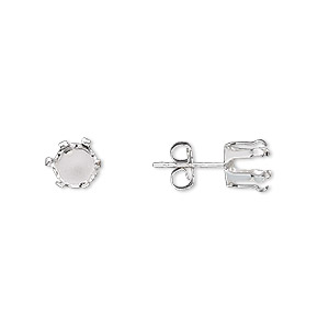 Earstud Snap E Sterling Silver 6mm 6 G Round Setting Sold Per Pair