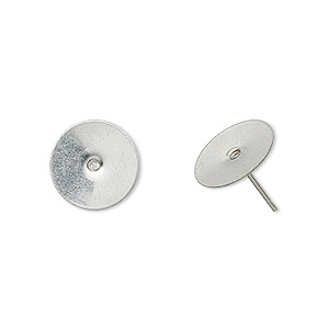 earstud, stainless steel, 12mm flat pad. sold per pkg of 50 pairs.