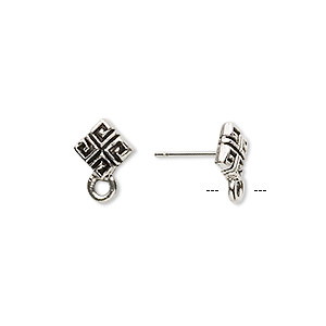 earstud, stainless steel and antique silver-plated pewter (tin-based alloy), 8x8mm diamond with square pattern and closed loop. sold per pkg of 2 pairs.