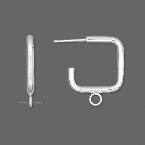 earstud, stainless steel and silver-plated steel, 17x17mm 3/4 square with closed loop. sold per pkg of 5 pairs.
