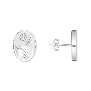 earstud, sterling silver, 14x10mm oval setting. sold per pair.