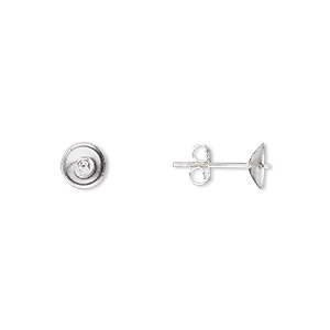 earstud, sterling silver, 6mm cup with peg, earnuts included. sold per pkg of 5 pairs.