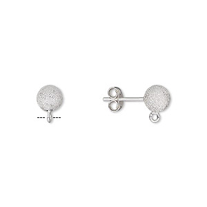 earstud, sterling silver, 6mm stardust ball with open loop. sold per pair.
