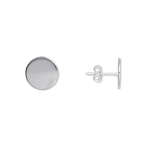 earstud, sterling silver-filled, 10mm round flat pad. sold per pair.