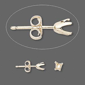 earstud, sure-set™, 14kt gold, 4mm 4-prong heart setting. sold per pair.