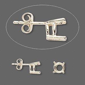 earstud, sure-set™, 14kt gold, 6.5mm with 4-prong round basket setting. sold per pair.