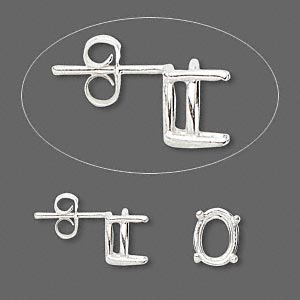 earstud, sure-set™, sterling silver, 9x7mm with 4-prong oval basket setting. sold per pair.