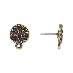 earstud, tierracast, antique brass-plated pewter (tin-based alloy), 15mm round with jardin design and closed loop. sold per pair.