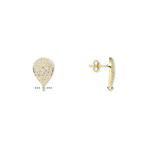 earstud, white topaz (natural) and gold-finished sterling silver, 17x12mm teardrop with open loop. sold per pair.