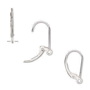 earwire, 14ktw white gold, 16mm leverback with open loop. sold per pair.