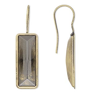 earwire, almost instant jewelry, antique gold-plated brass, 40x13mm fishhook with 24x8mm rectangle setting, 20 gauge. sold per pkg of 2 pairs.