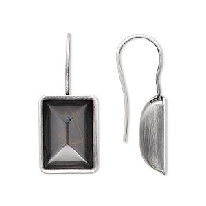 earwire, almost instant jewelry, antique silver-plated brass, 30x13mm fishhook with 14x10mm step-cut rectangle setting, 20 gauge. sold per pkg of 2 pairs.