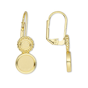 earwire, almost instant jewelry, gold-finished brass, 31mm leverback with 4mm and 8mm round setting. sold per pkg of 5 pairs.