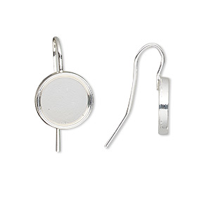 earwire, almost instant jewelry, silver-finished brass, 19mm fishhook with 10mm round setting, 18 gauge. sold per pkg of 5 pairs.