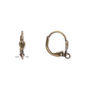 earwire, antique gold-plated brass, 15mm leverback with 6x3mm shell and open loop. sold per pkg of 50 pairs.