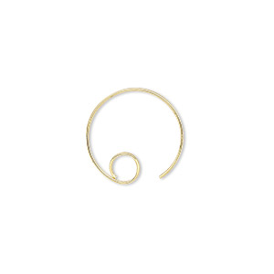 earwire, gold-plated brass, 16mm round with open loop, 22 gauge. sold per pkg of 50 pairs.