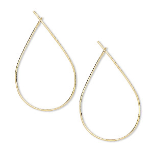 earwire, gold-plated brass, 27x17mm teardrop hoop. sold per pkg of 50 pairs.
