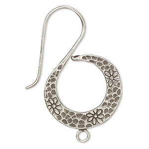 earwire, hill tribes, antiqued fine silver, 39mm fishhook with hammered spiral and closed loop, 18 gauge. sold per pair.