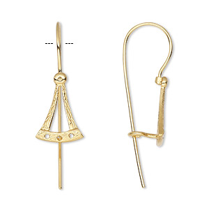 earwire, jbb findings, gold-plated brass, 27mm fishhook with bell and 3 holes, 21 gauge. sold per pair.