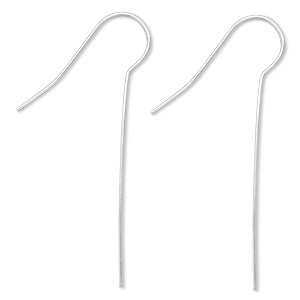 earwire, silver-plated brass, 45mm fishhook with 35mm shank, 22 gauge. sold per pkg of 50 pairs.