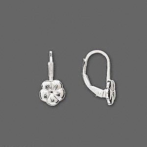 earwire, sterling silver, 16mm leverback with 8x8mm flower. sold per pair.