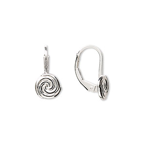 earwire, sterling silver, 17mm leverback with 8mm swirl. sold per pair.